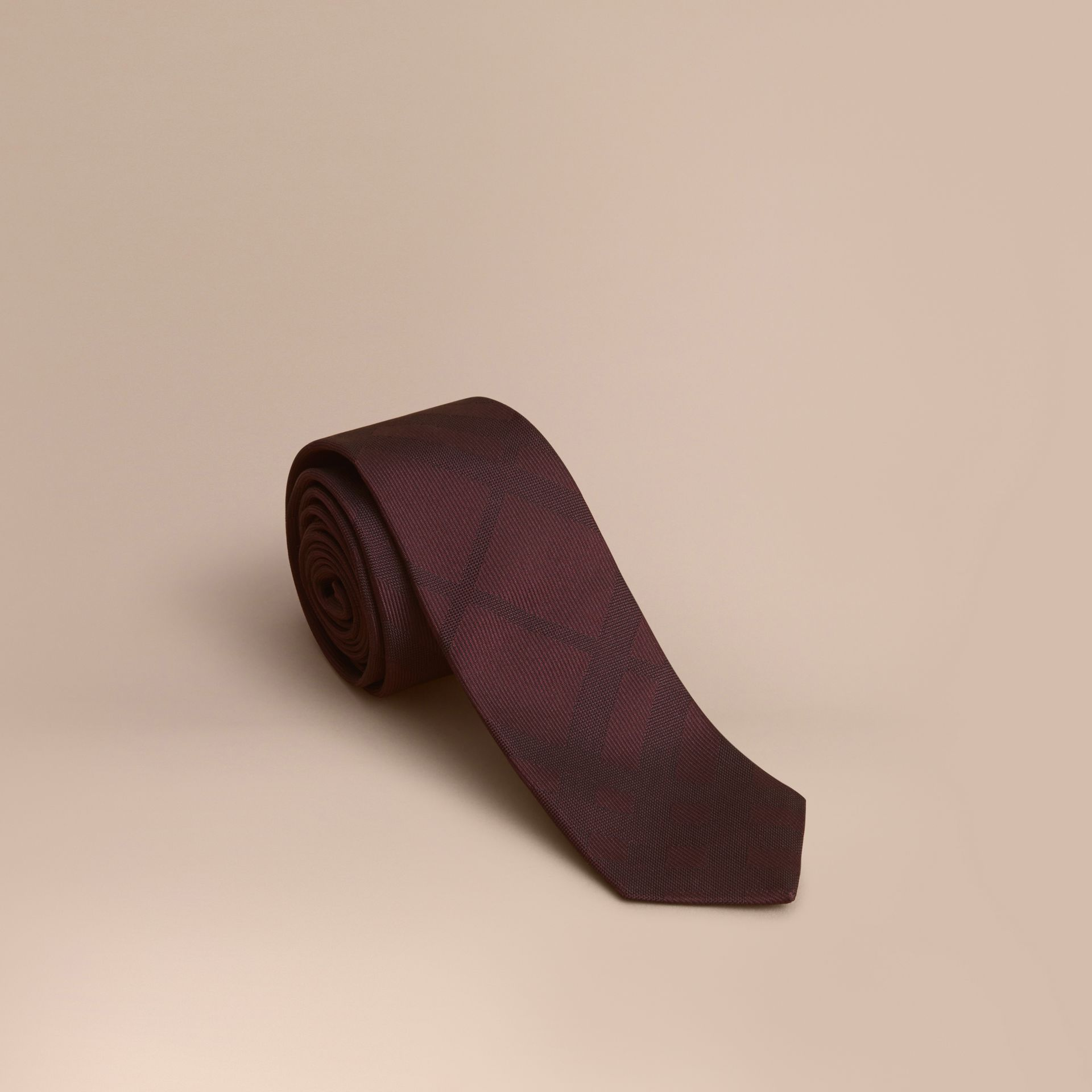 Slim Cut Check Silk Tie in Deep Claret - gallery image 1