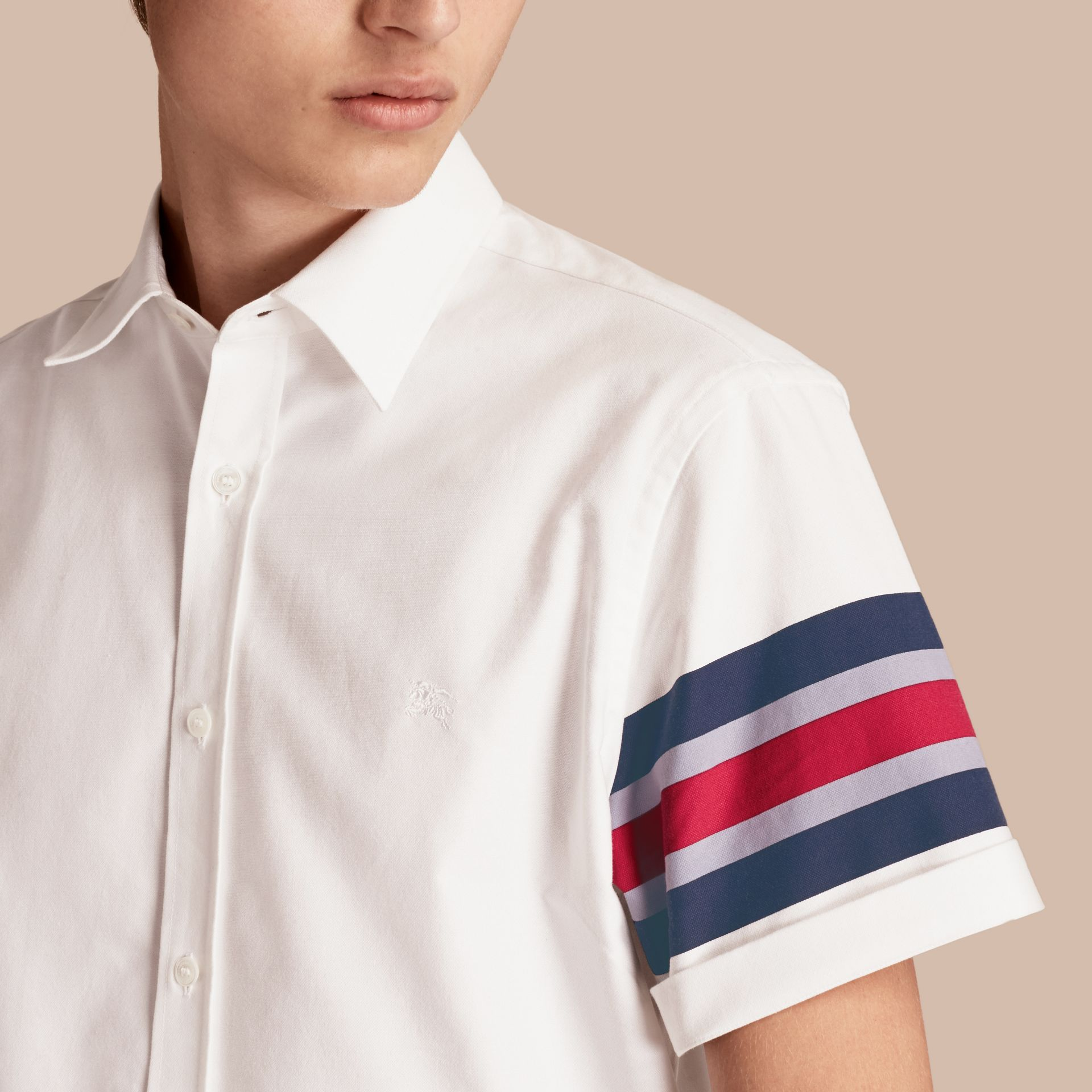 White Short-sleeved Oxford Cotton Shirt with Regimental Detail - gallery image 5