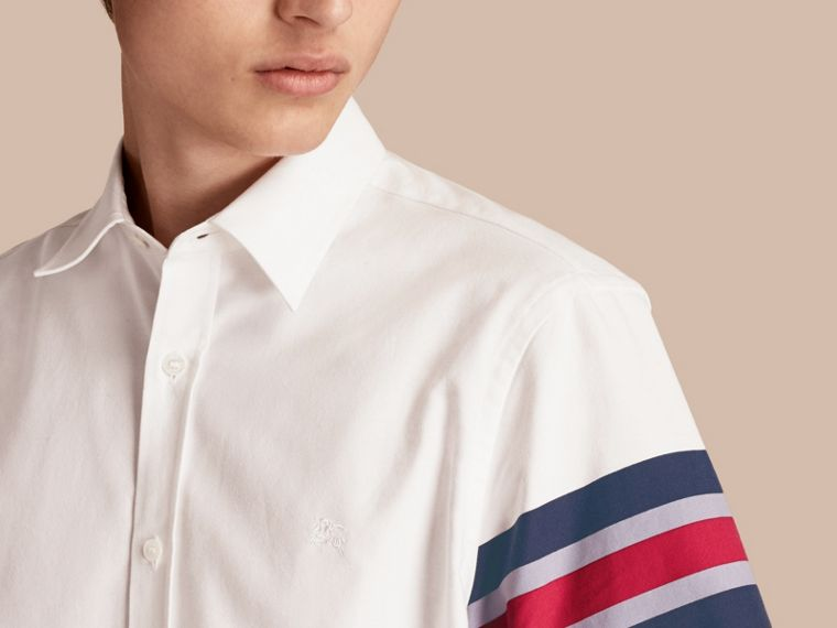 White Short-sleeved Oxford Cotton Shirt with Regimental Detail - cell image 4