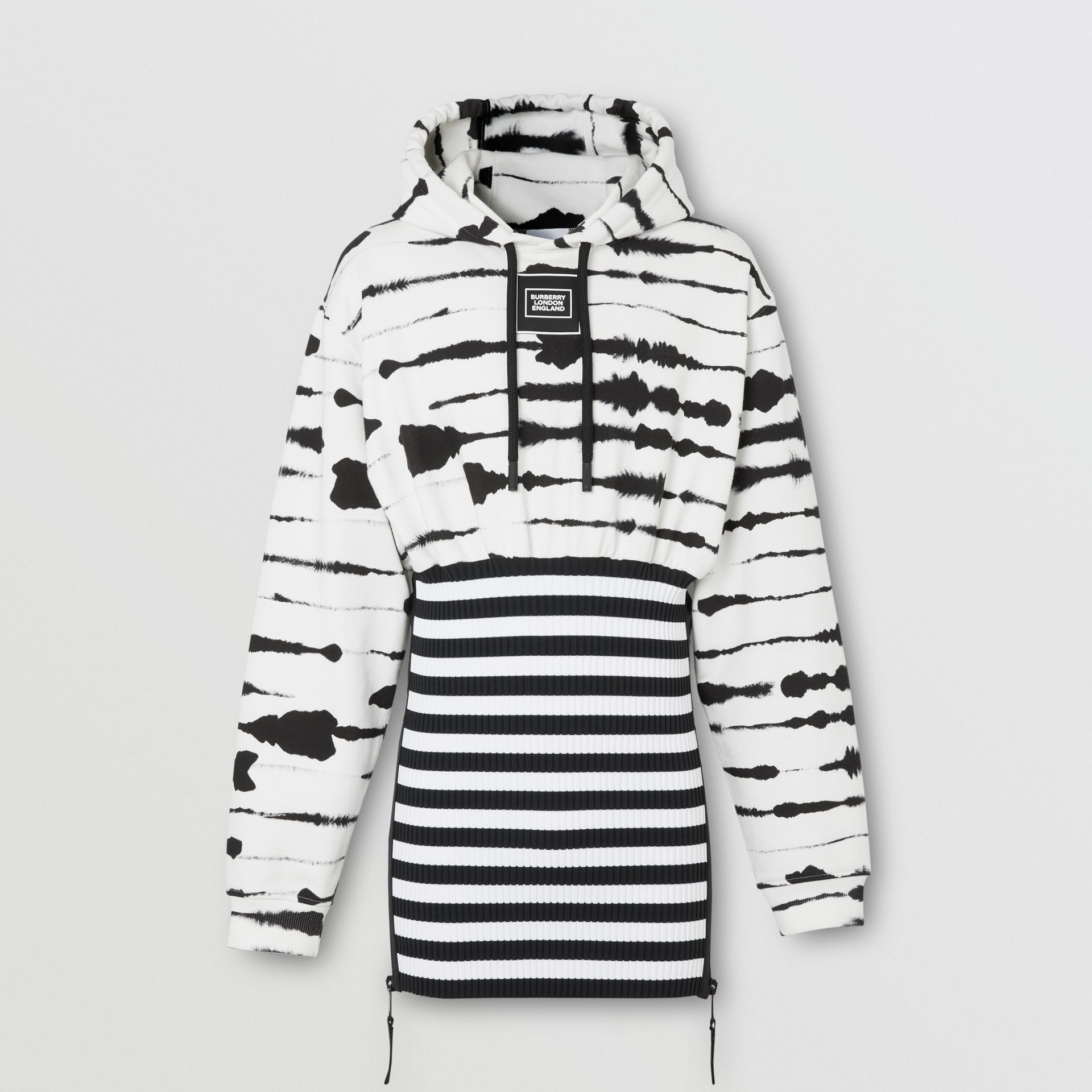 Reconstructed Watercolour Print Cotton Hoodie in Monochrome | Burberry - gallery image 3