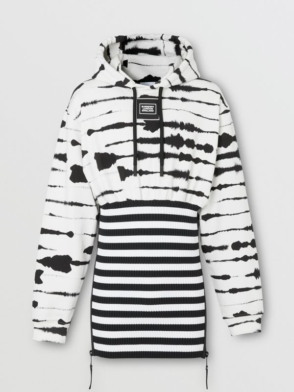 Reconstructed Watercolour Print Cotton Hoodie in Monochrome | Burberry - cell image 3