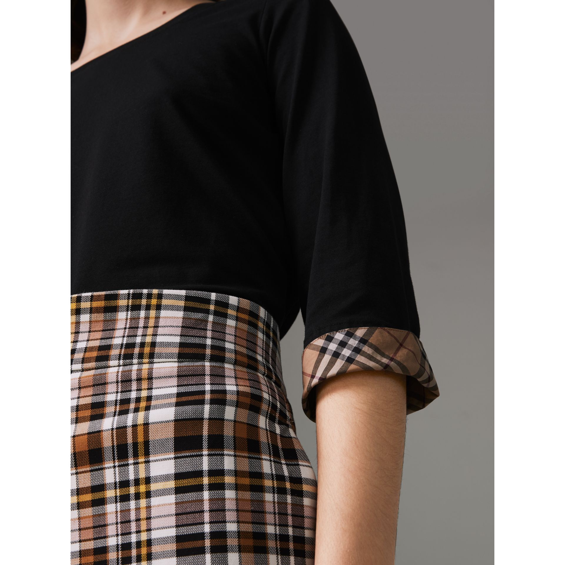 Check Detail Stretch Cotton Top in Black - Women | Burberry - gallery image 1