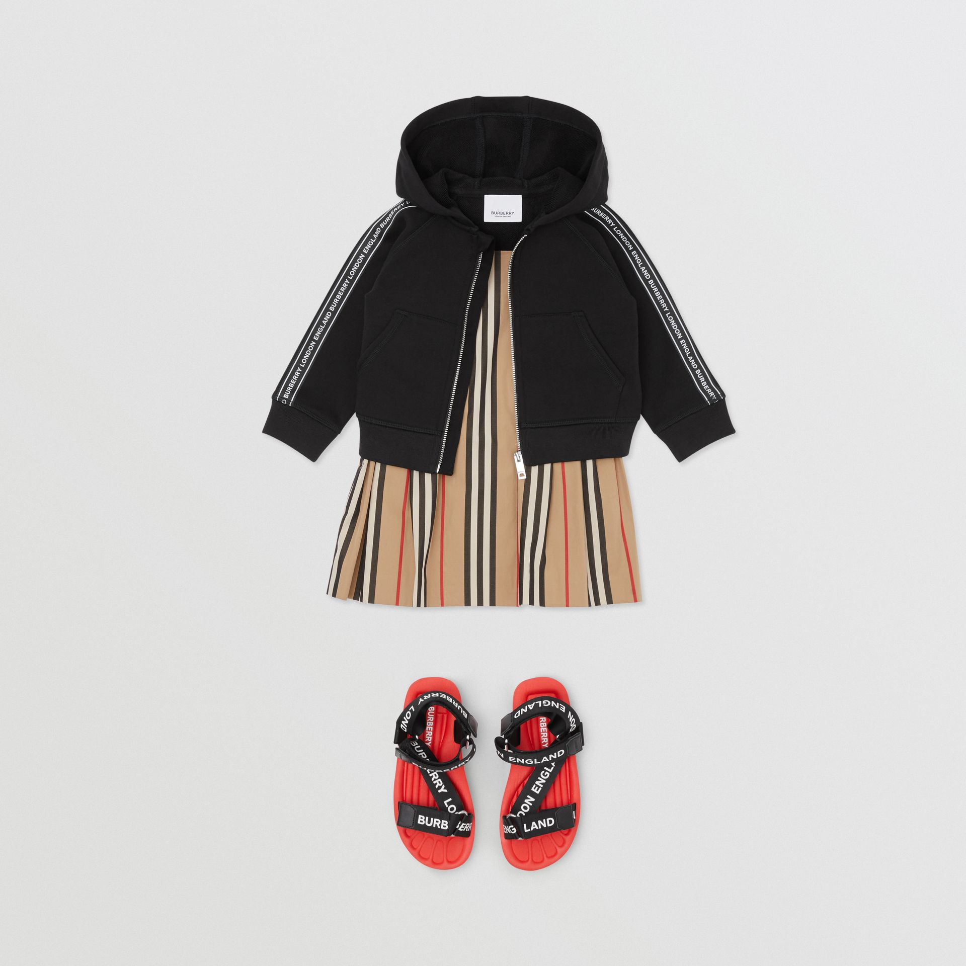 Logo Tape Cotton Hooded Top in Black - Children | Burberry - gallery image 2