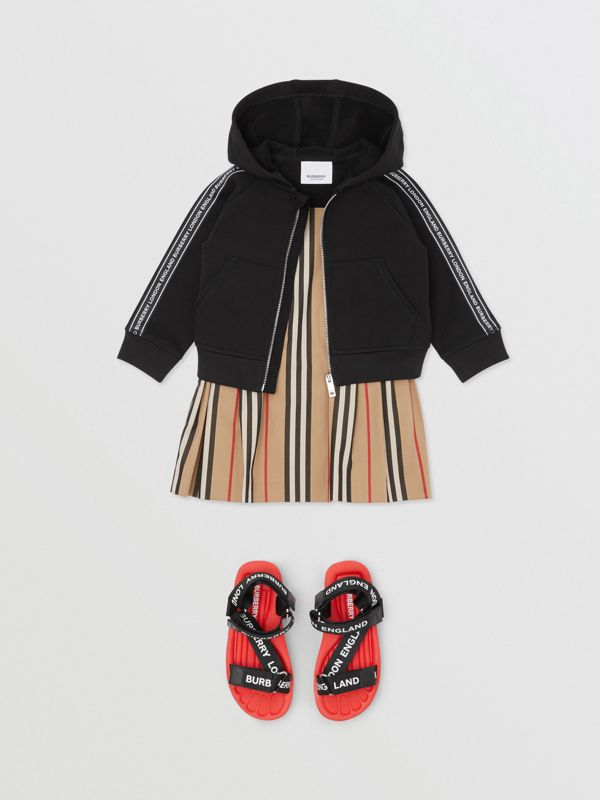 Logo Tape Cotton Hooded Top in Black - Children | Burberry - cell image 2