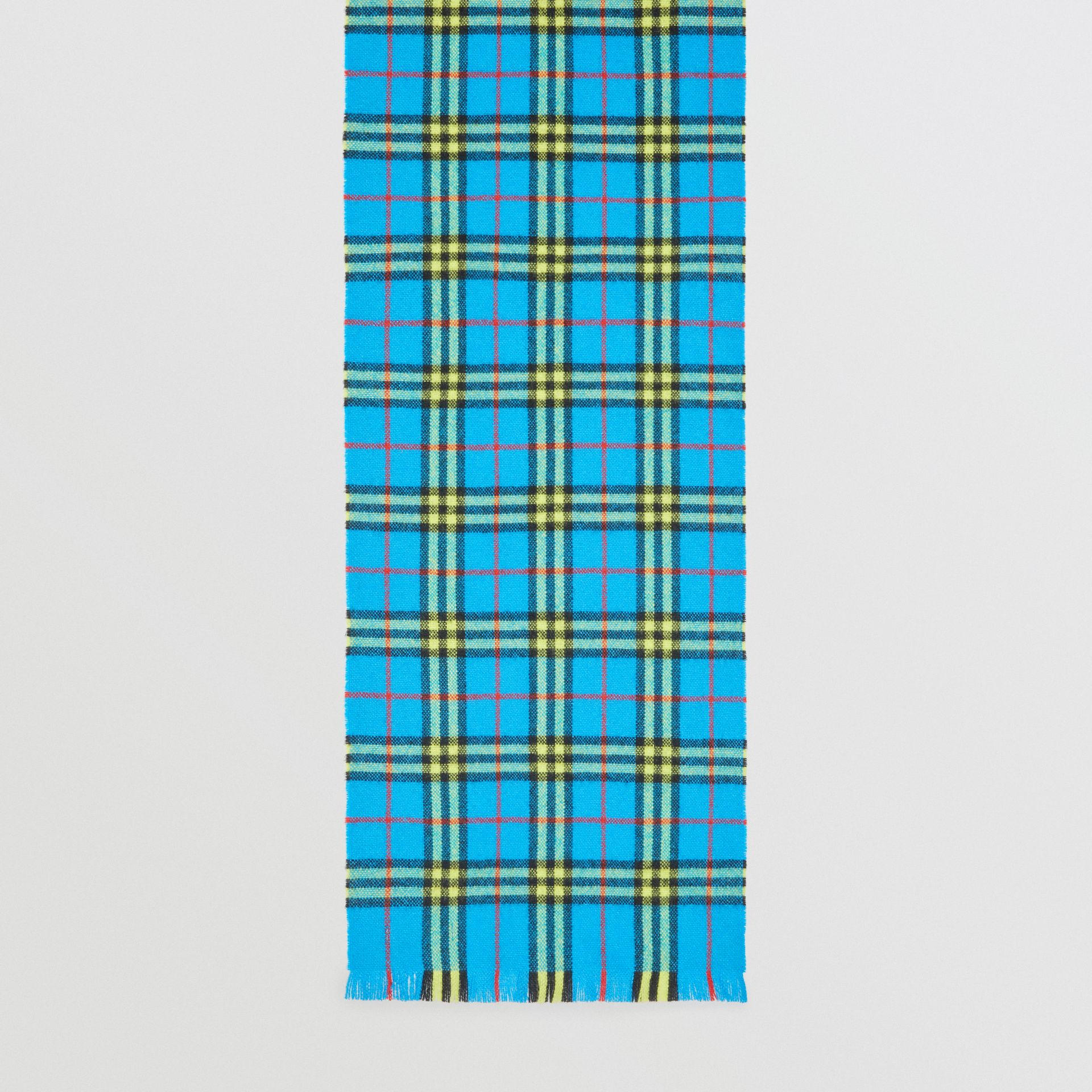 Check Cashmere Scarf in Bright Sky Blue | Burberry United Kingdom - gallery image 4