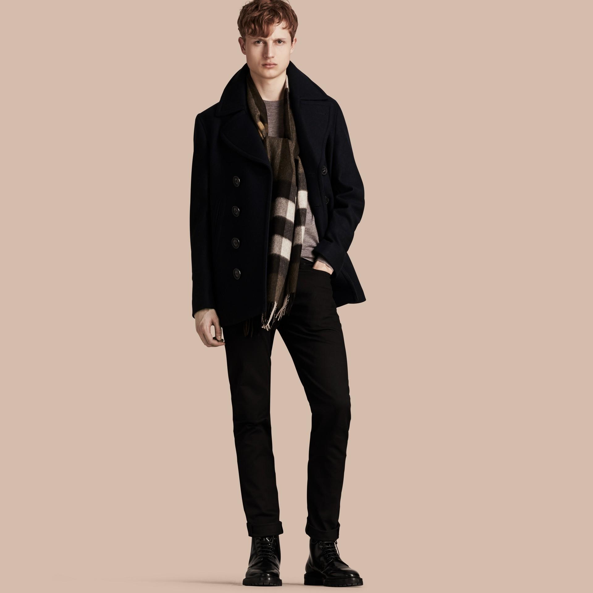 Navy Pea coat in lana e cashmere Navy - immagine della galleria 1
