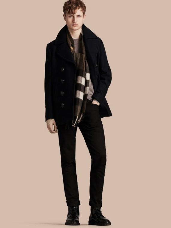 Pea coat de lã e cashmere Azul Marinho