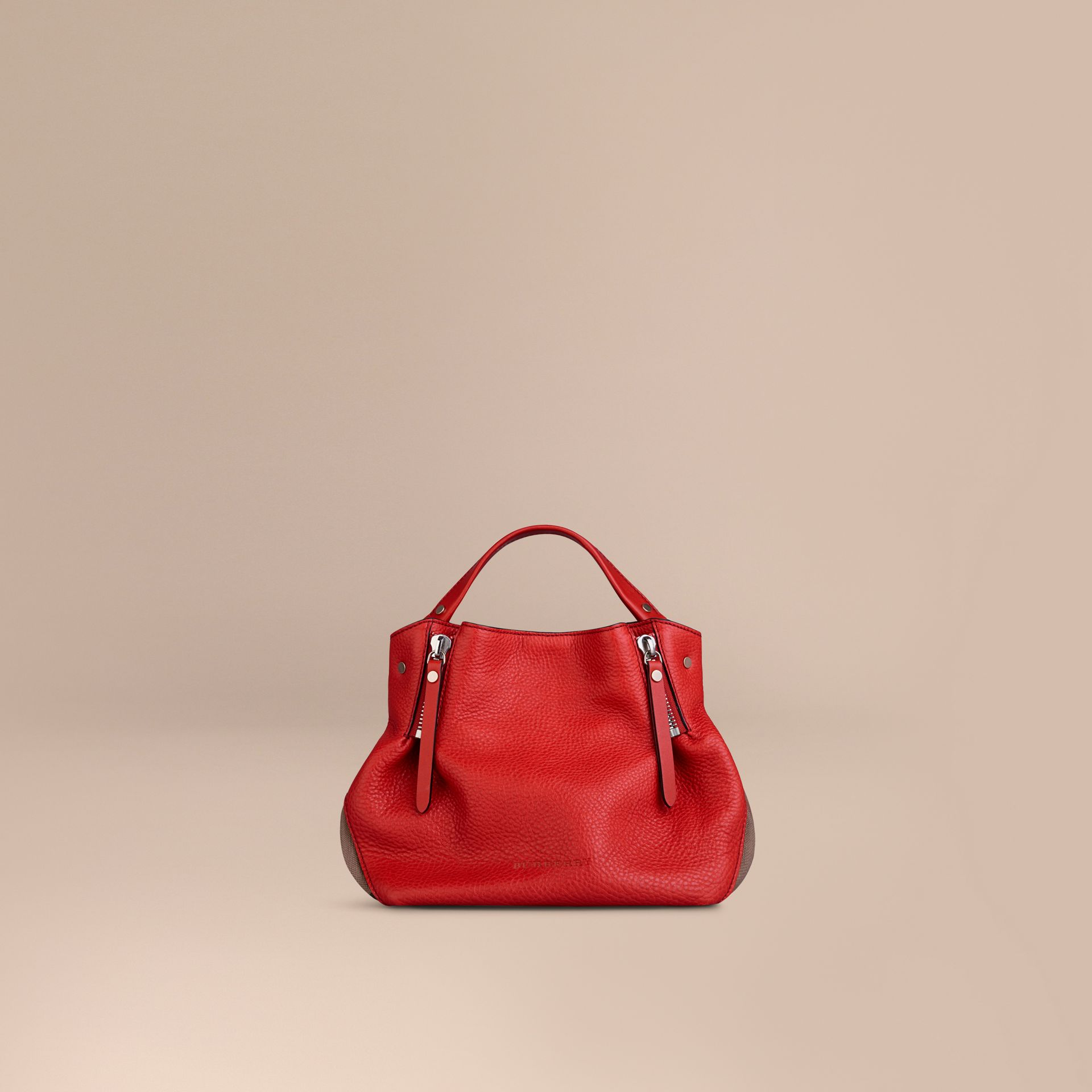 Cadmium red Small Check Detail Leather Tote Bag Cadmium Red - gallery image 6