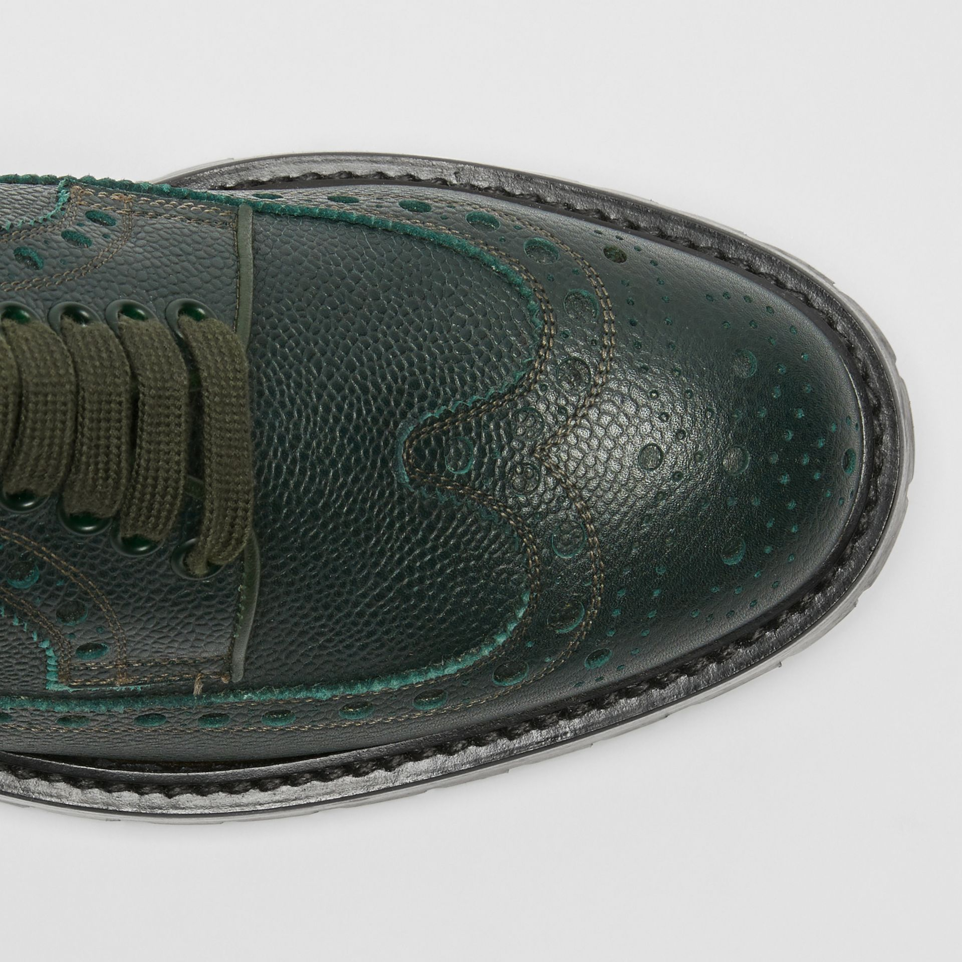 Brogue Detail Grainy Leather Derby Shoes in Deep Viridian Green - Men | Burberry Singapore - gallery image 1