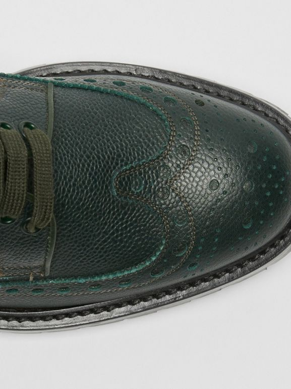 Brogue Detail Grainy Leather Derby Shoes in Deep Viridian Green - Men | Burberry United States - cell image 1