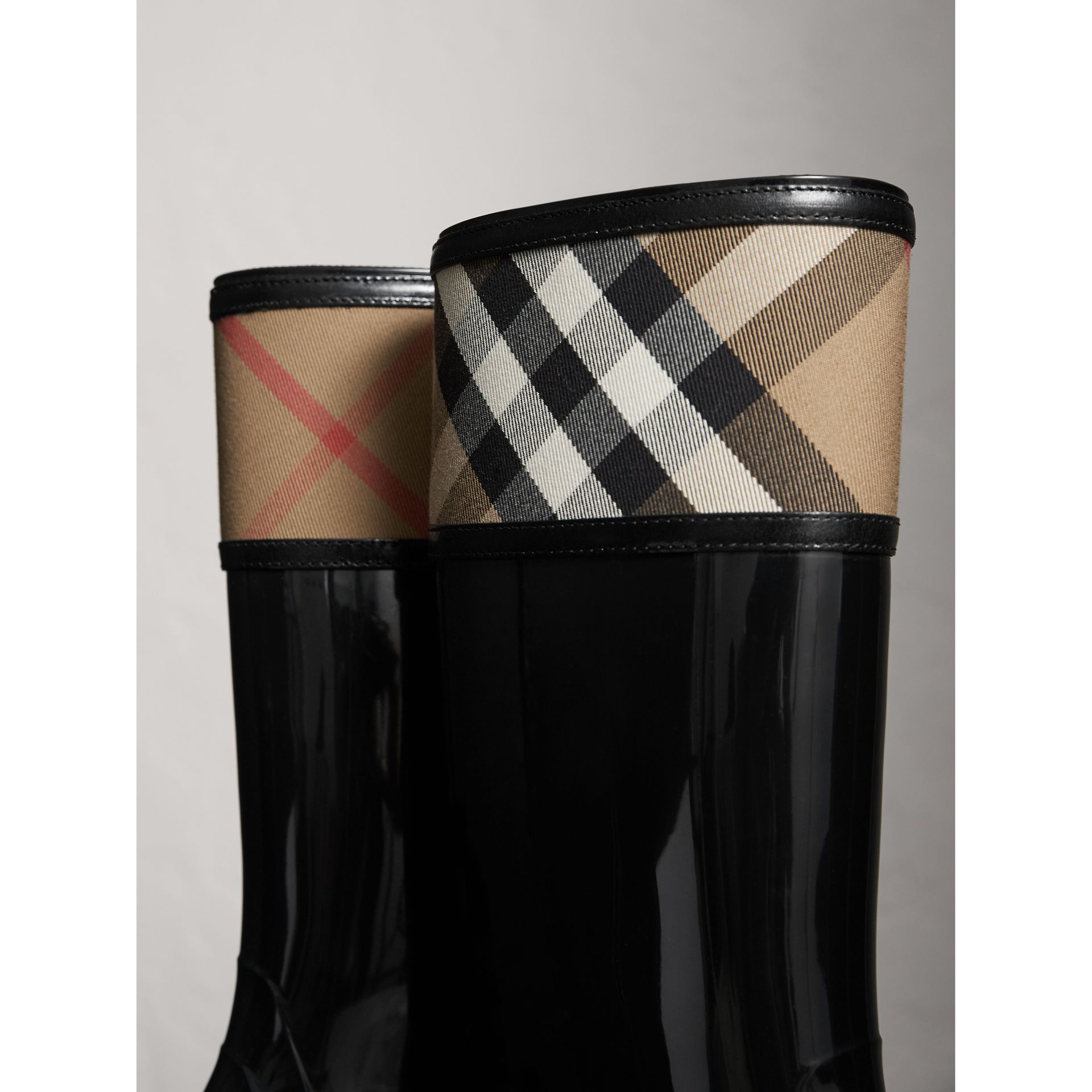 House Check Rain Boots in Black - Women | Burberry - gallery image 1
