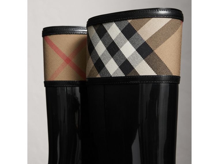 House Check Rain Boots in Black - Women | Burberry Hong Kong - cell image 1