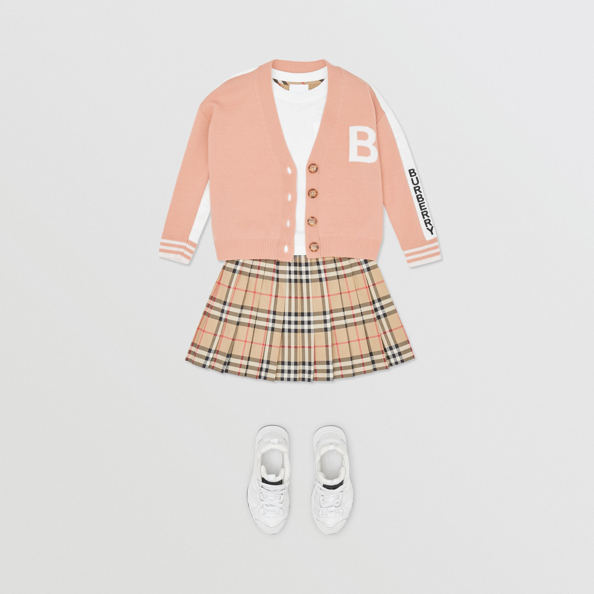 B Motif Merino Wool Jacquard Cardigan in Peach - Girl | Burberry - gallery image 2