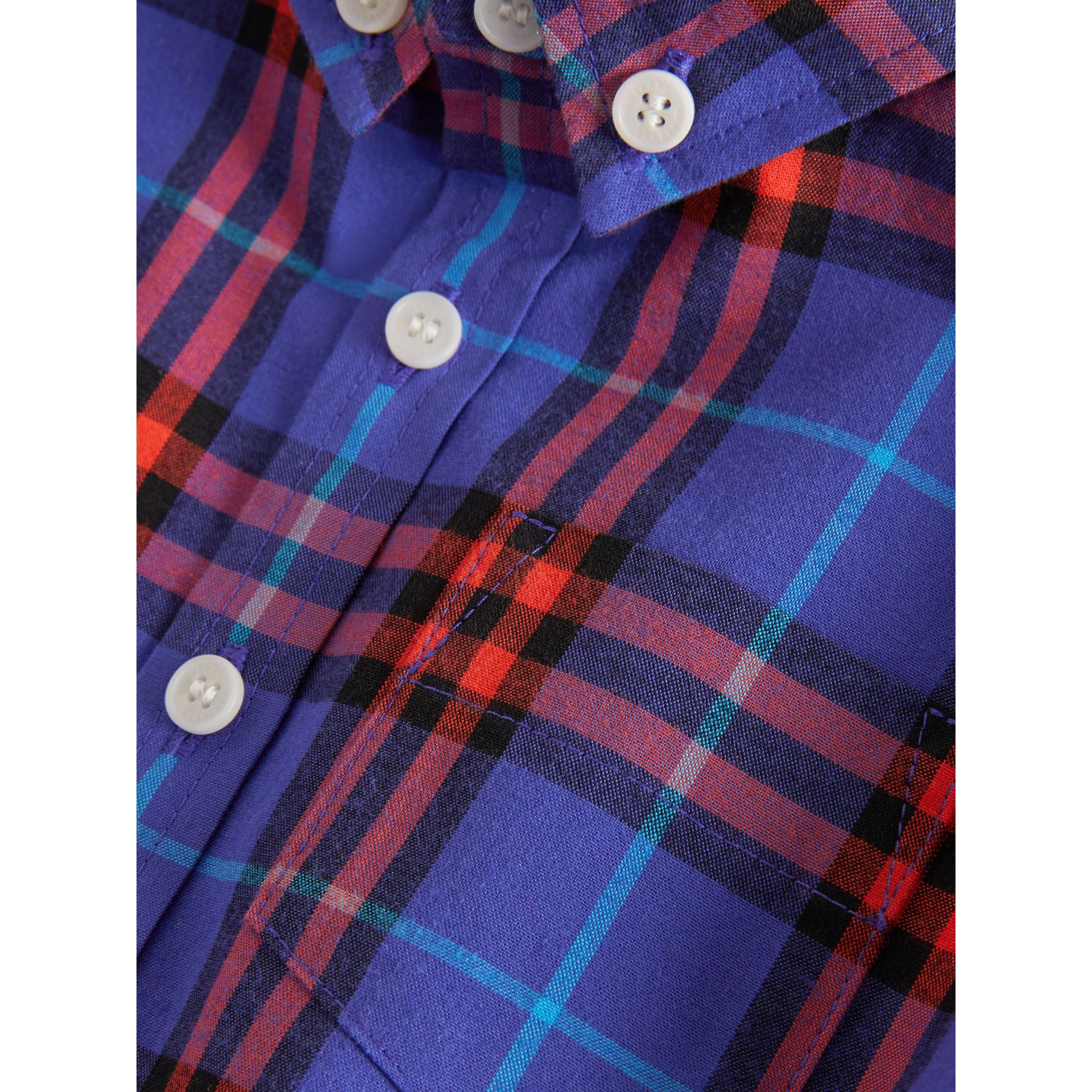 Button-down Collar Check Cotton Shirt in Sapphire Blue | Burberry - gallery image 1