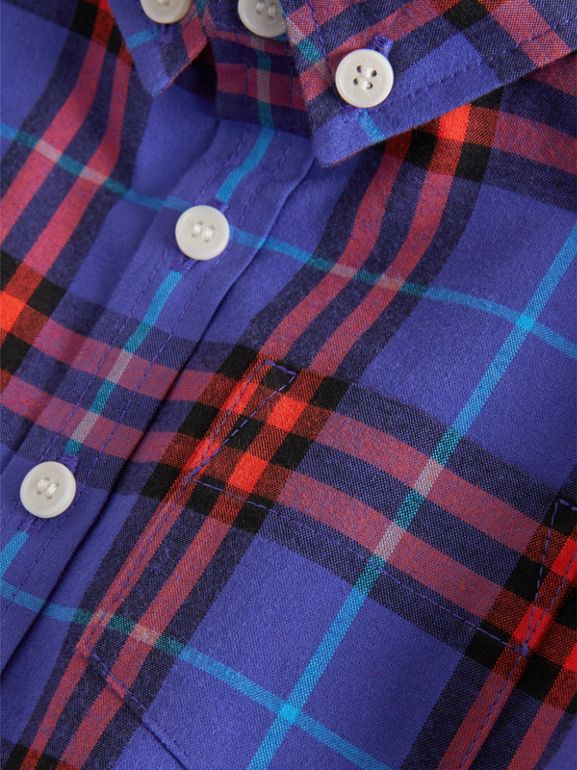 Button-down Collar Check Cotton Shirt in Sapphire Blue | Burberry - cell image 1