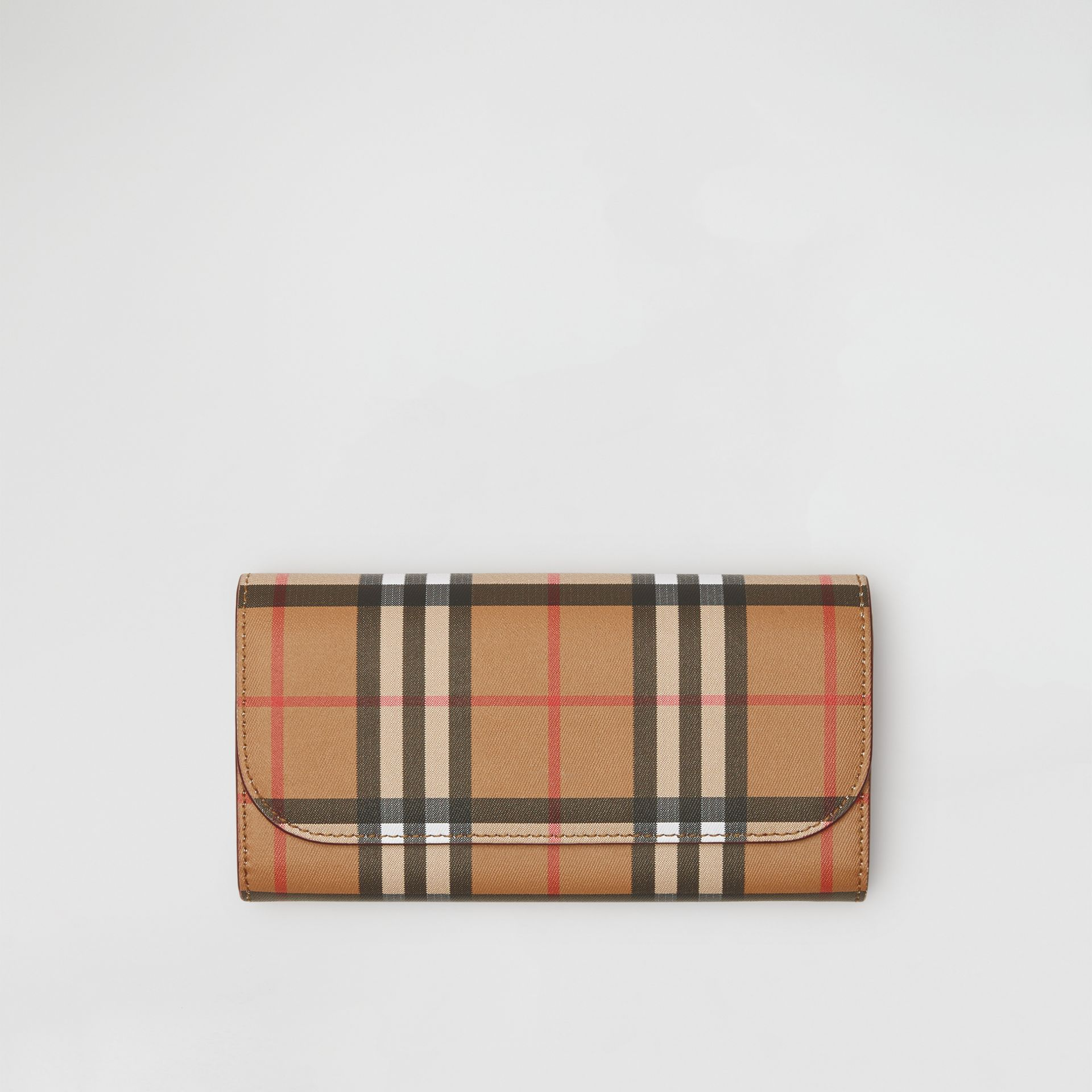 Vintage Check and Leather Continental Wallet in Crimson - Women | Burberry United States - gallery image 0