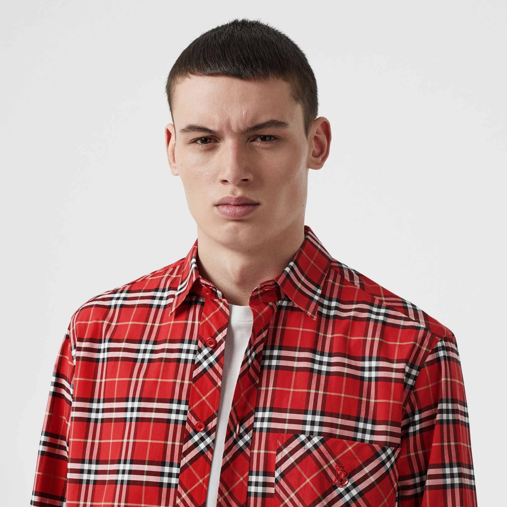 Small Scale Check Stretch Cotton Shirt in Cadmium Red - Men | Burberry Canada - gallery image 1