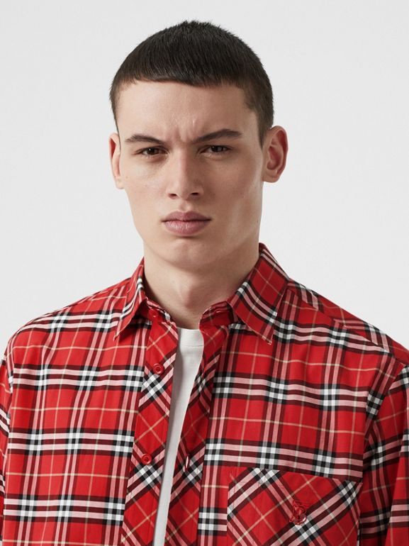 Small Scale Check Stretch Cotton Shirt in Cadmium Red - Men | Burberry - cell image 1
