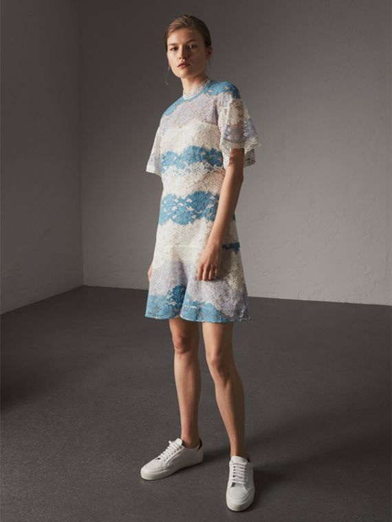Floral Lace Dress with Flutter Sleeves in Slate Blue - Women | Burberry