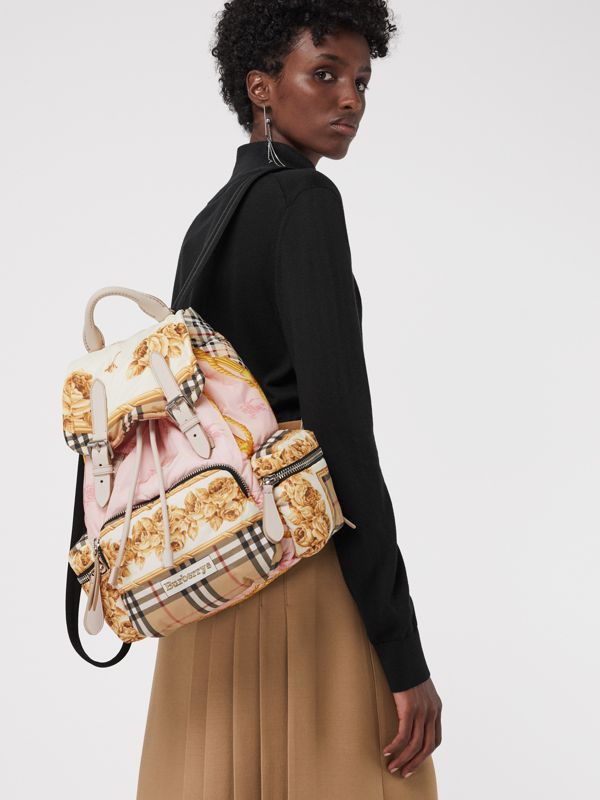 The Medium Rucksack in Archive Scarf Print in Stone - Women | Burberry - cell image 3
