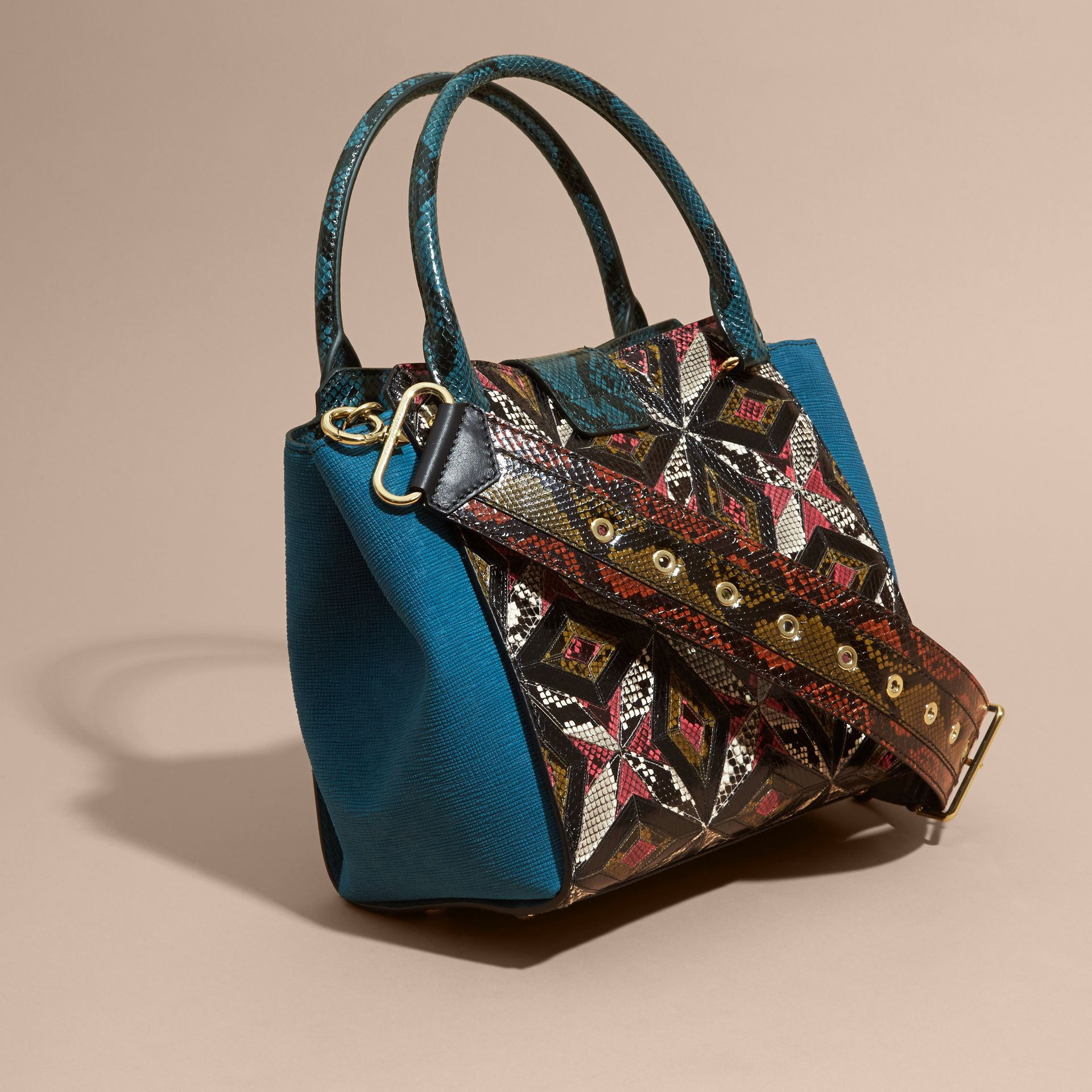 The Medium Buckle Tote in Tiled Snakeskin in Light Crimson - gallery image 5