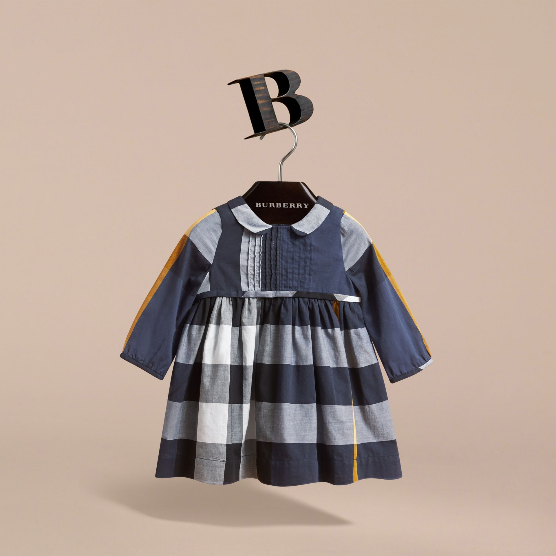 Long-sleeve Check Pintuck Bib Cotton Dress in Pale Navy | Burberry - gallery image 3