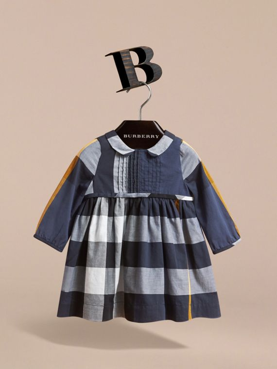 Long-sleeve Check Pintuck Bib Cotton Dress in Pale Navy | Burberry - cell image 2