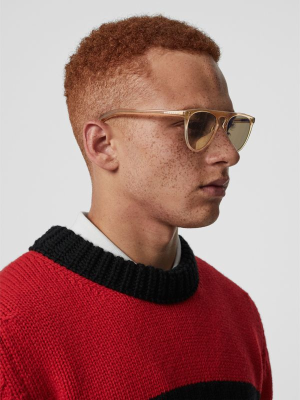 Keyhole D-shaped Sunglasses in Brown - Men | Burberry - cell image 2