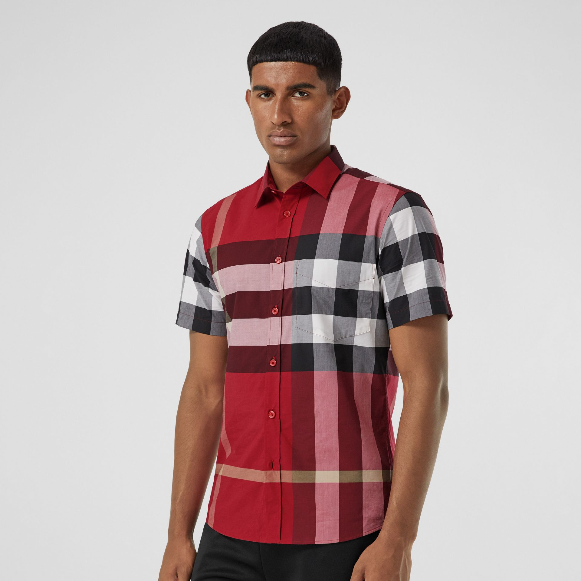 Short-sleeve Check Stretch Cotton Poplin Shirt in Parade Red - Men | Burberry Canada - gallery image 4