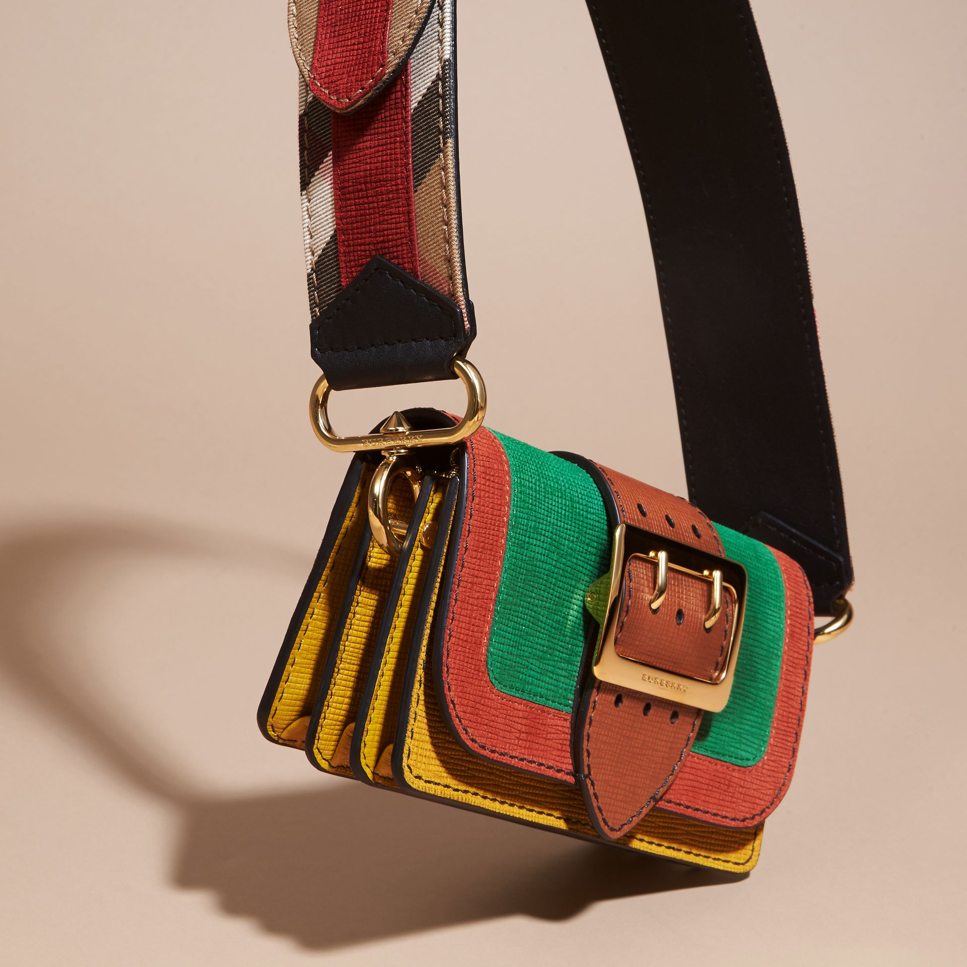 The Small Buckle Bag in Textured Leather in Bright Green - gallery image 8