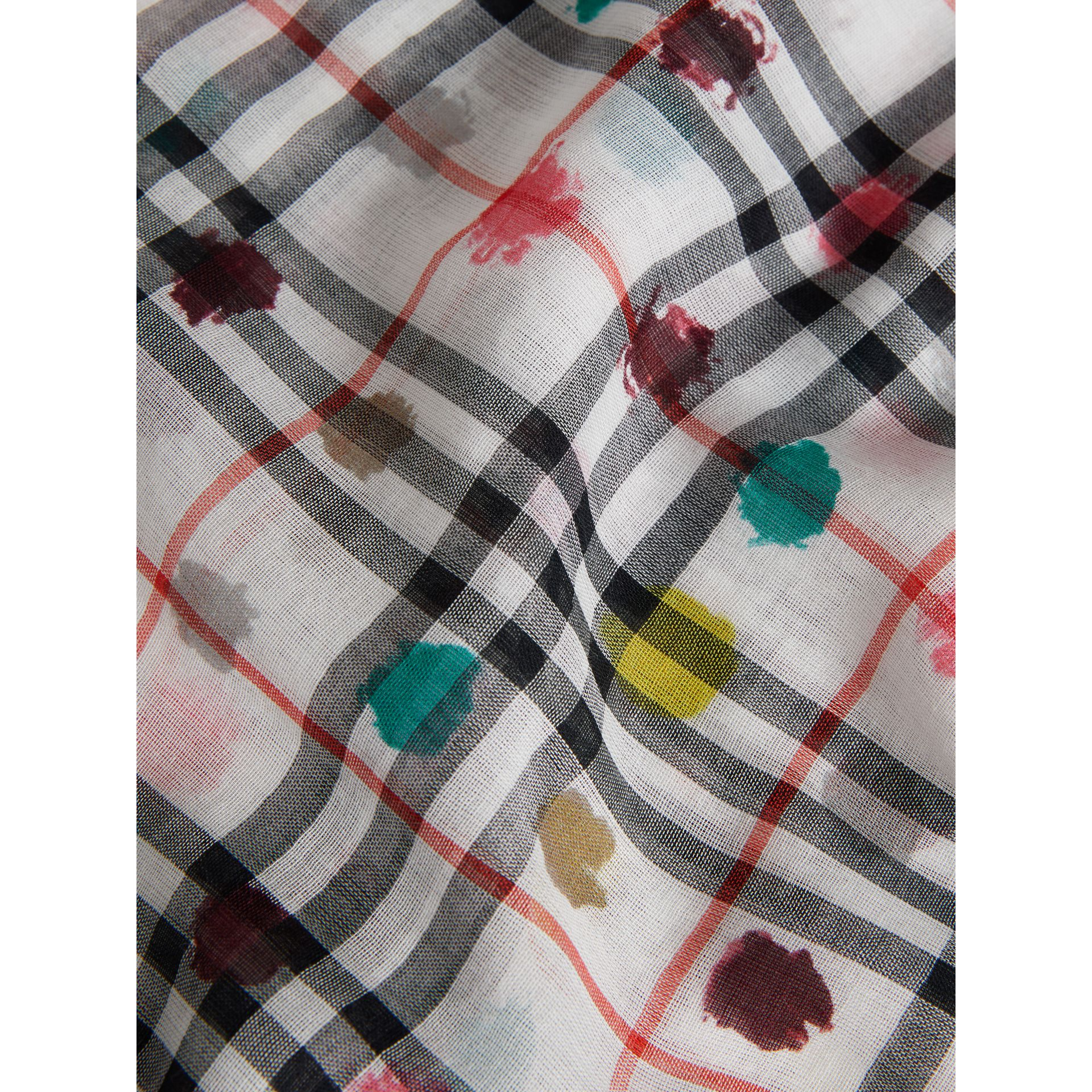Dot Print and Vintage Check Cotton Square – Large in White | Burberry - gallery image 1