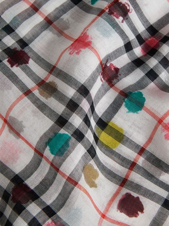 Dot Print and Vintage Check Cotton Square – Large in White - Children | Burberry - cell image 1