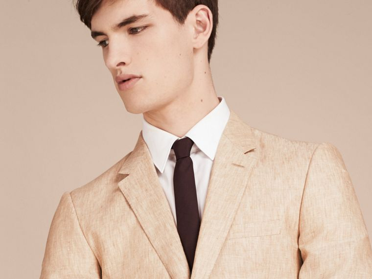Pale stone Modern Fit Linen Jacket - cell image 4