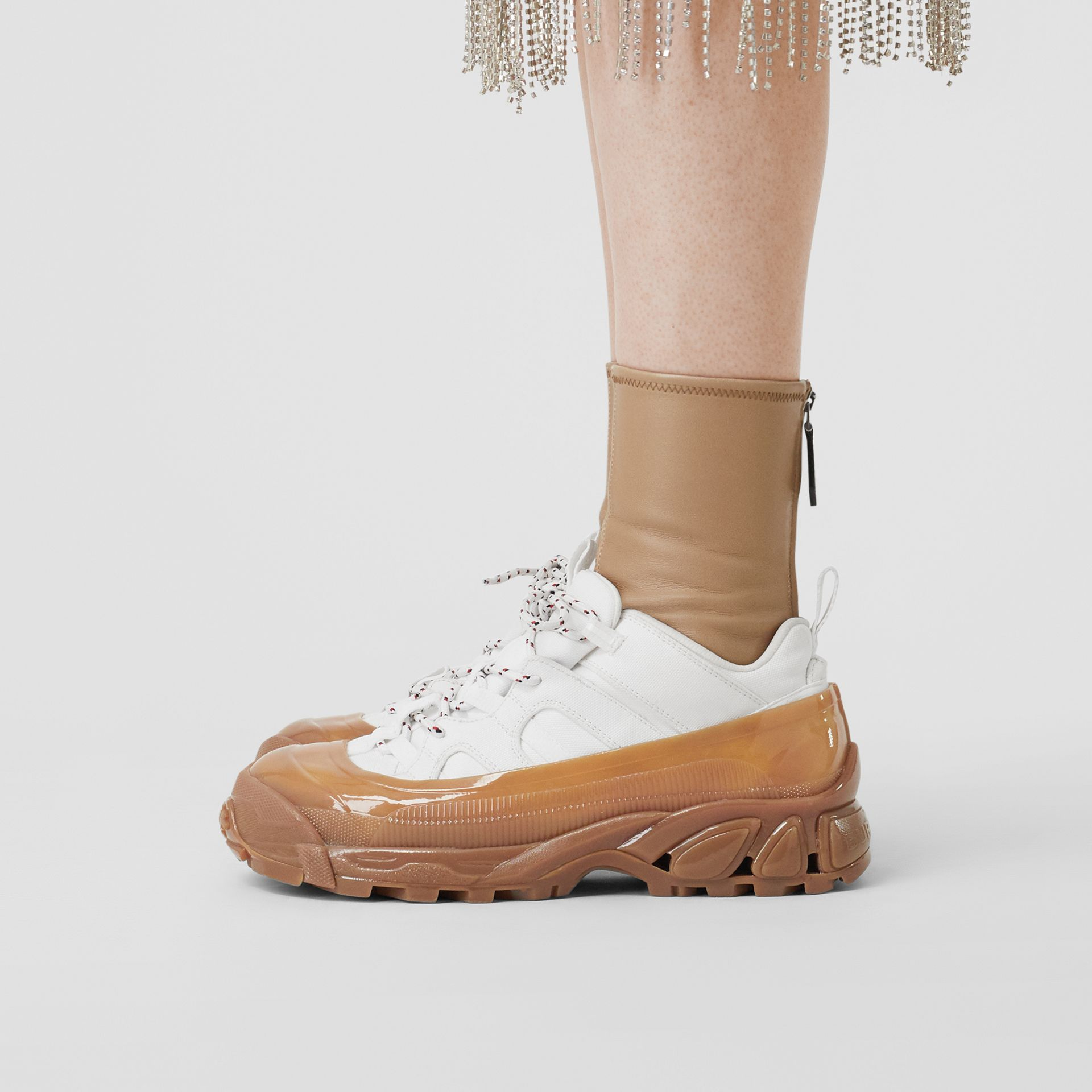 Cotton and Suede Arthur Sneakers in White/amber - Women | Burberry United Kingdom - gallery image 2