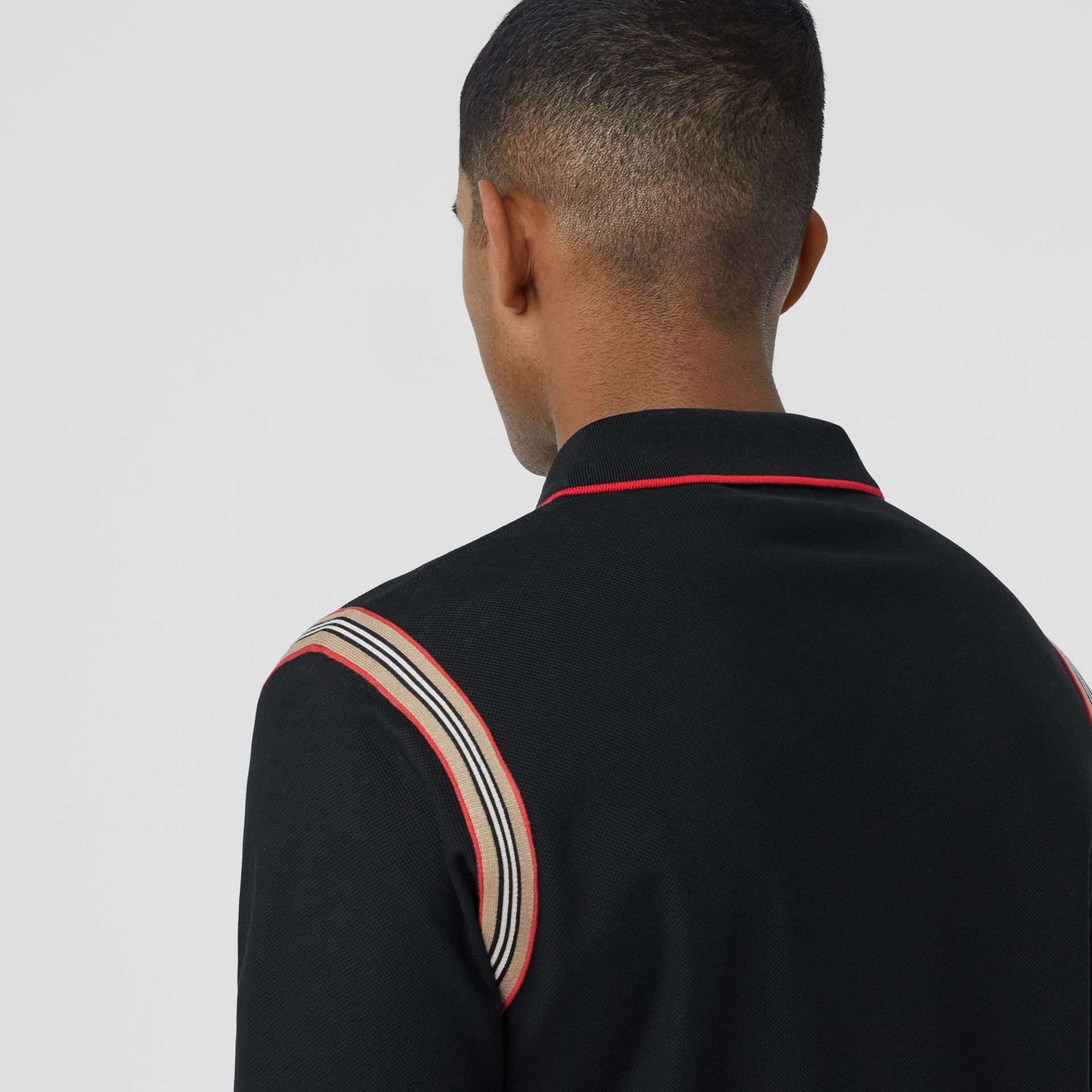 Icon Stripe Trim Monogram Motif Cotton Polo Shirt in Black - Men | Burberry - gallery image 4