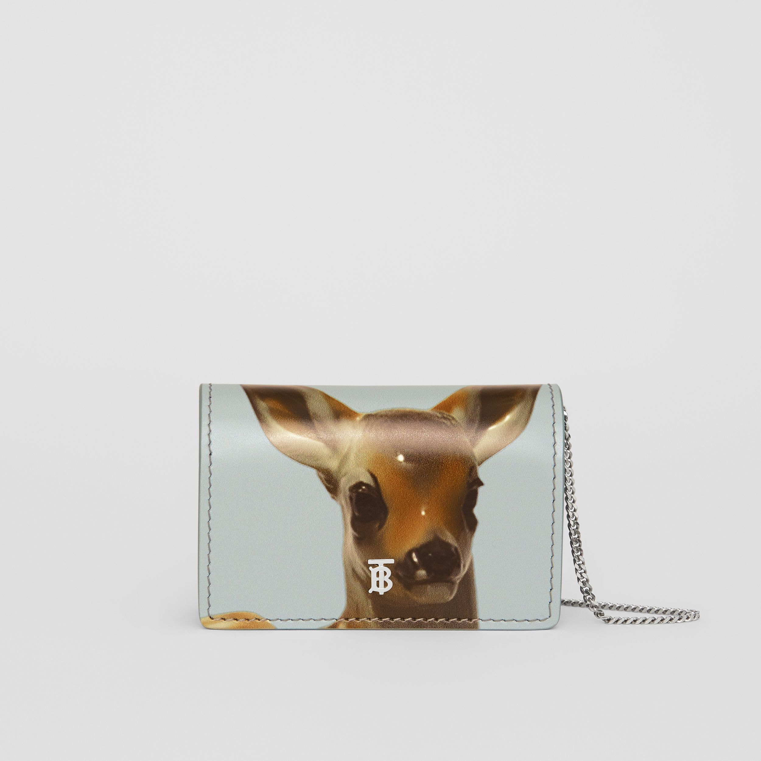 Deer Motif Leather Card Case with Detachable Strap in White | Burberry - 1