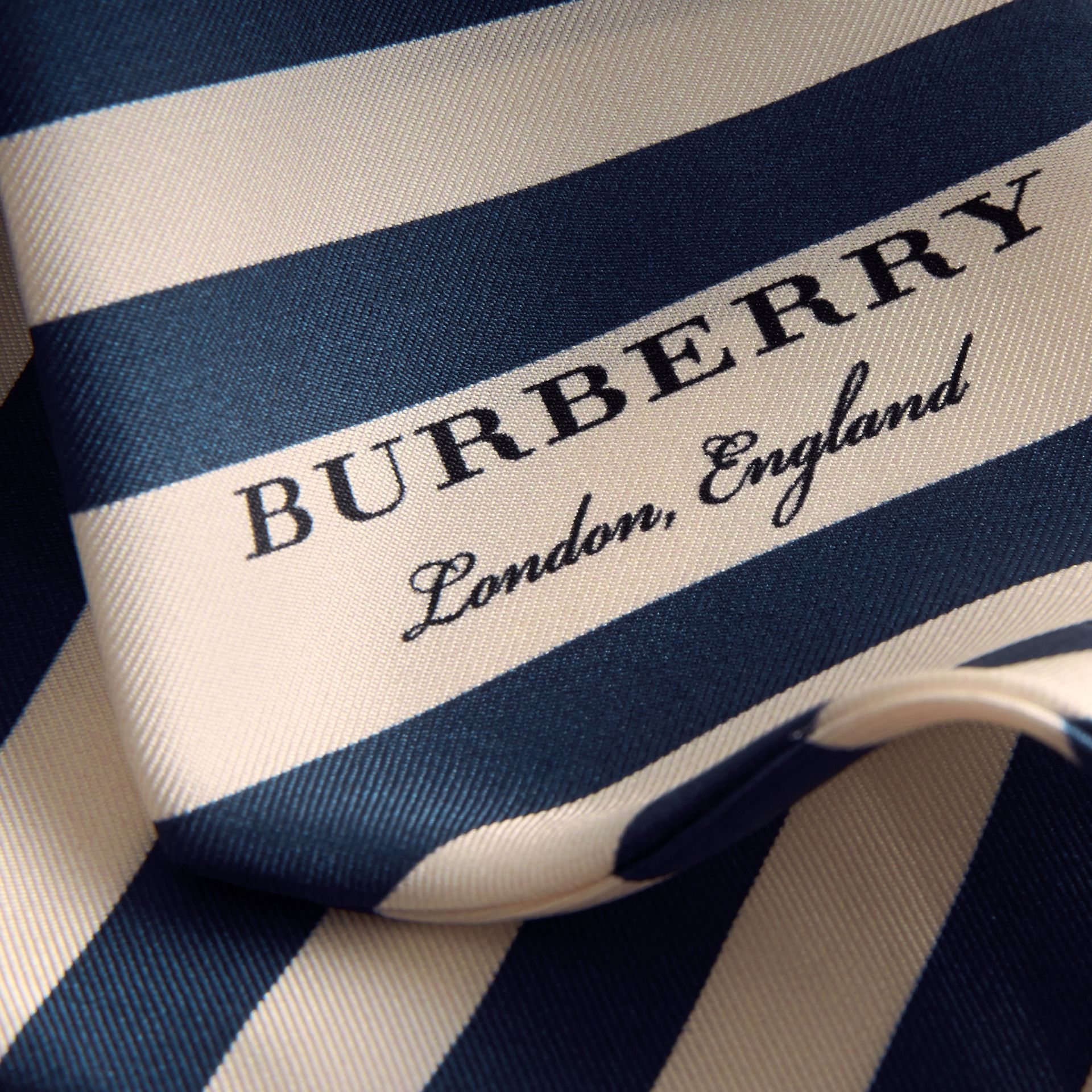 Slim Striped Silk Scarf in Navy - Women | Burberry - gallery image 2