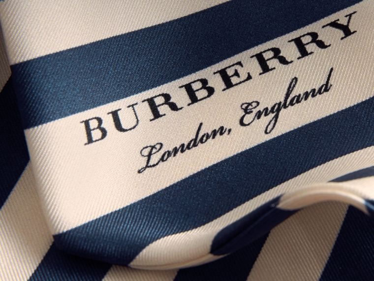 Slim Striped Silk Scarf in Navy - Women | Burberry - cell image 1