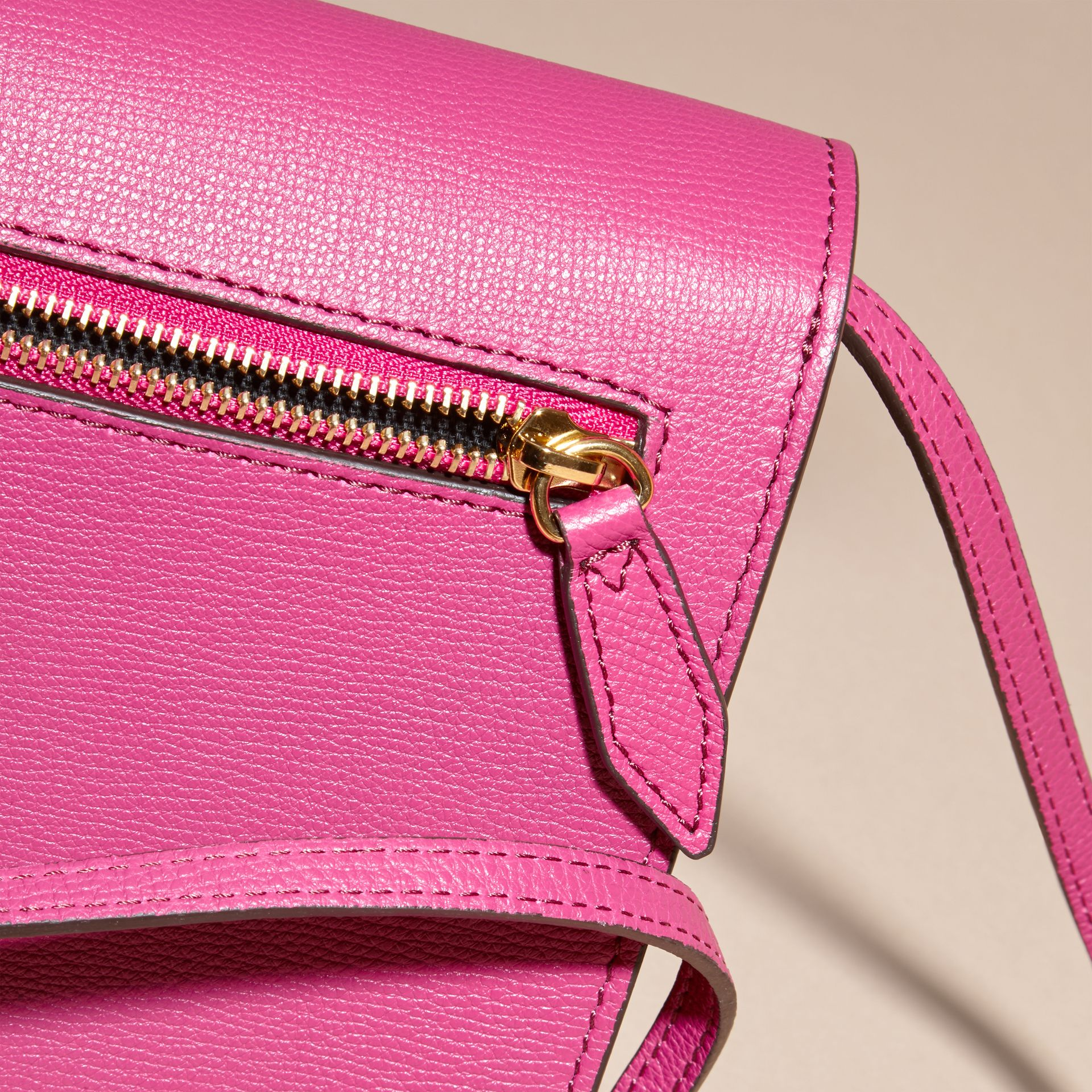 Brilliant fuchsia Small Leather and House Check Crossbody Bag - gallery image 7