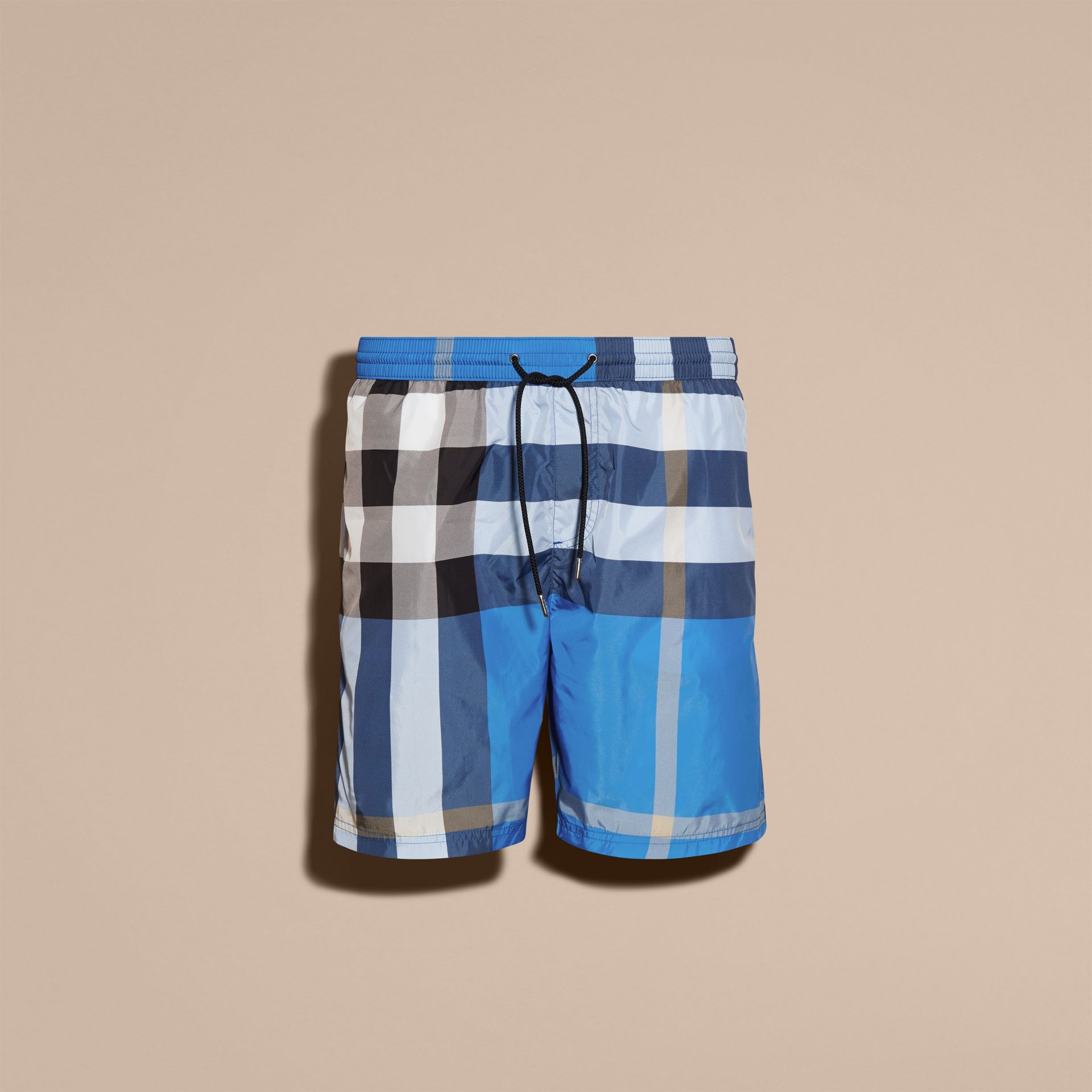 Check Swim Shorts in Cerulean Blue - Men | Burberry - gallery image 3