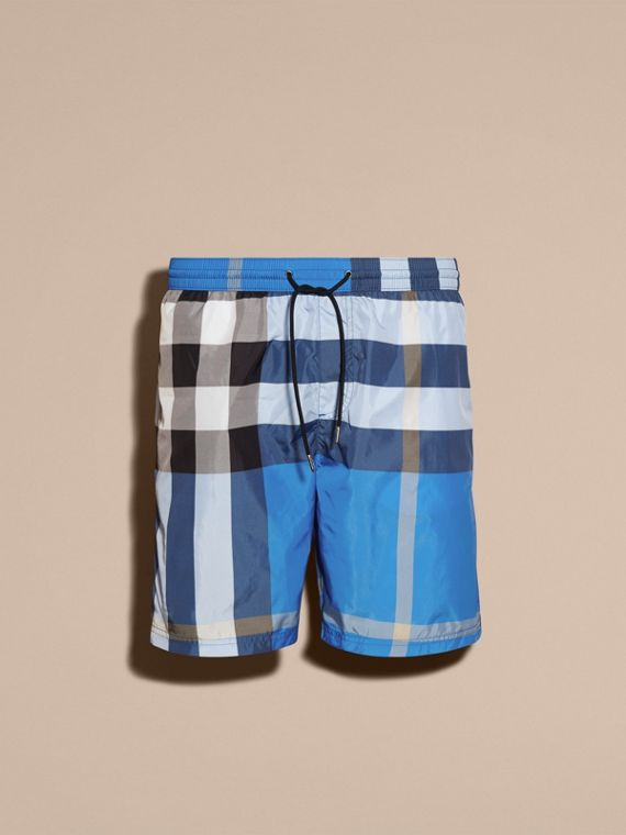 Check Swim Shorts in Cerulean Blue