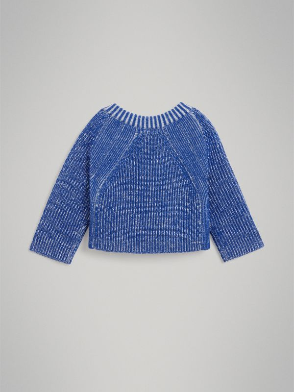 Rib Knit Merino Wool Sweater in Cerulean Blue - Children | Burberry - cell image 3