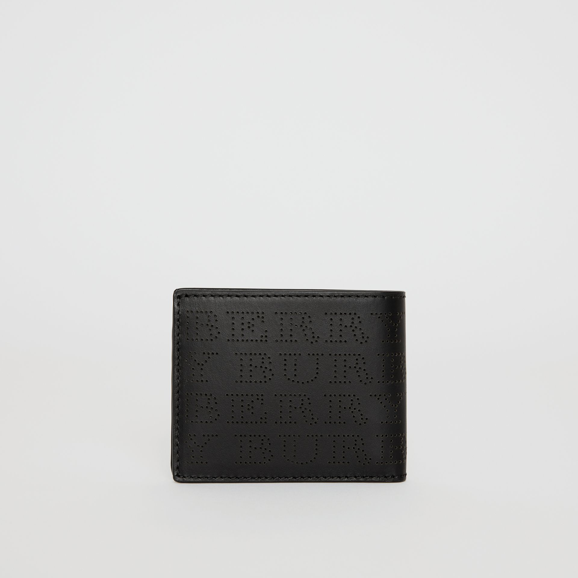Perforated Logo Leather Bifold Wallet in Black - Men | Burberry - gallery image 4