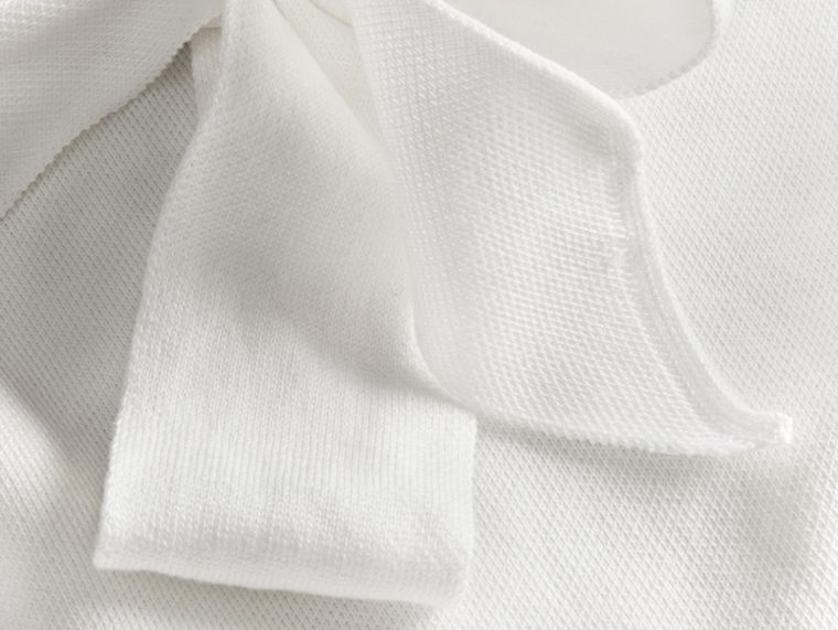 Natural white A-lIne Cotton Piqué Dress with Bow Detail - cell image 1