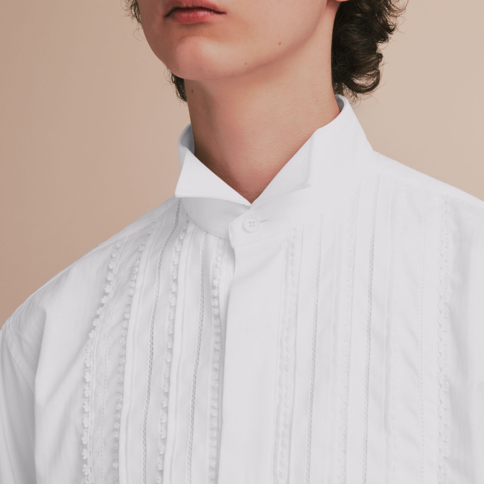 Cotton Evening Shirt with Pintucks and Macramé Trim in White - Men | Burberry Australia - gallery image 5