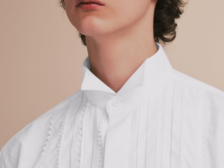Cotton Evening Shirt with Pintucks and Macramé Trim in White - Men | Burberry Australia - cell image 4
