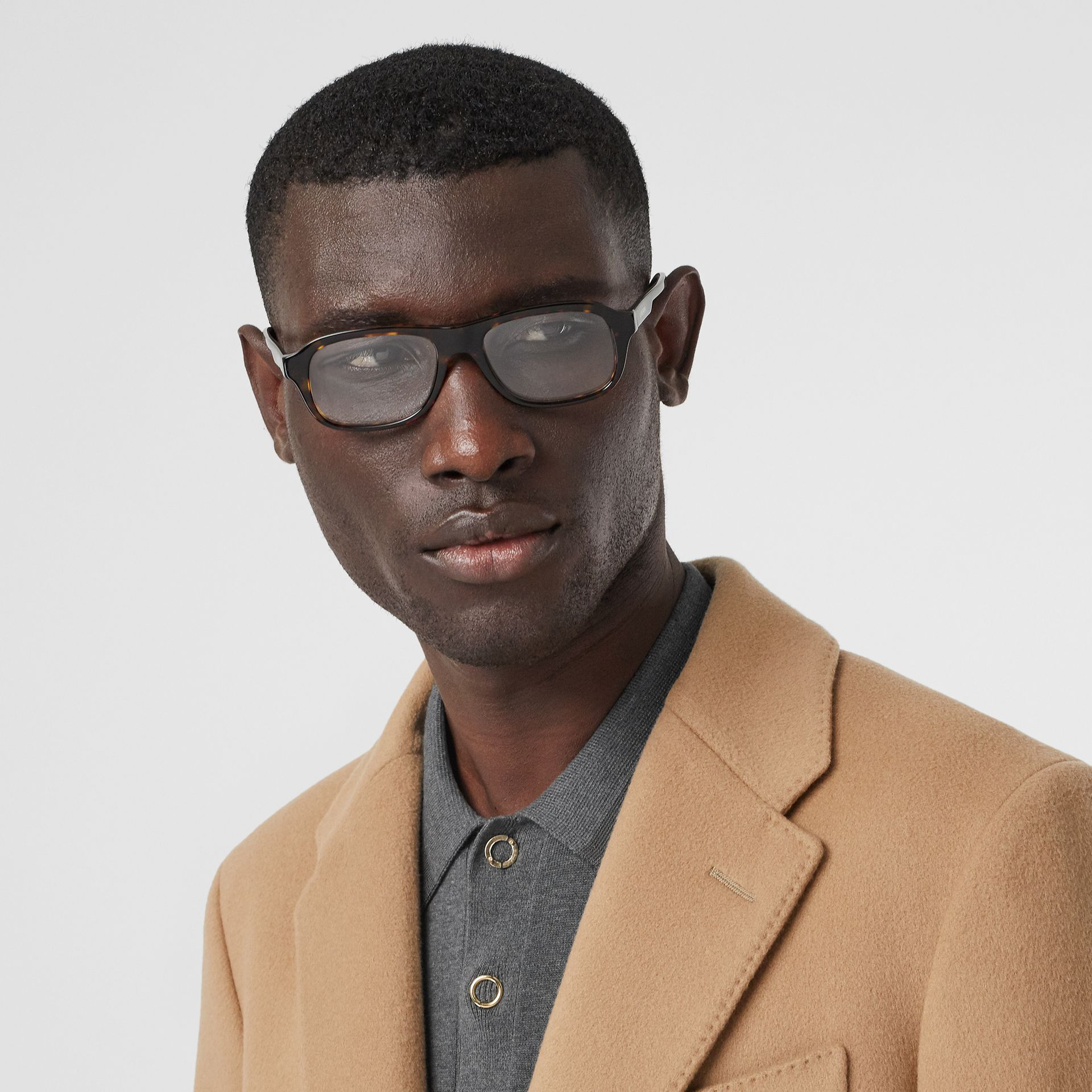 Rectangular Optical Frames in Tortoiseshell - Men | Burberry - gallery image 2
