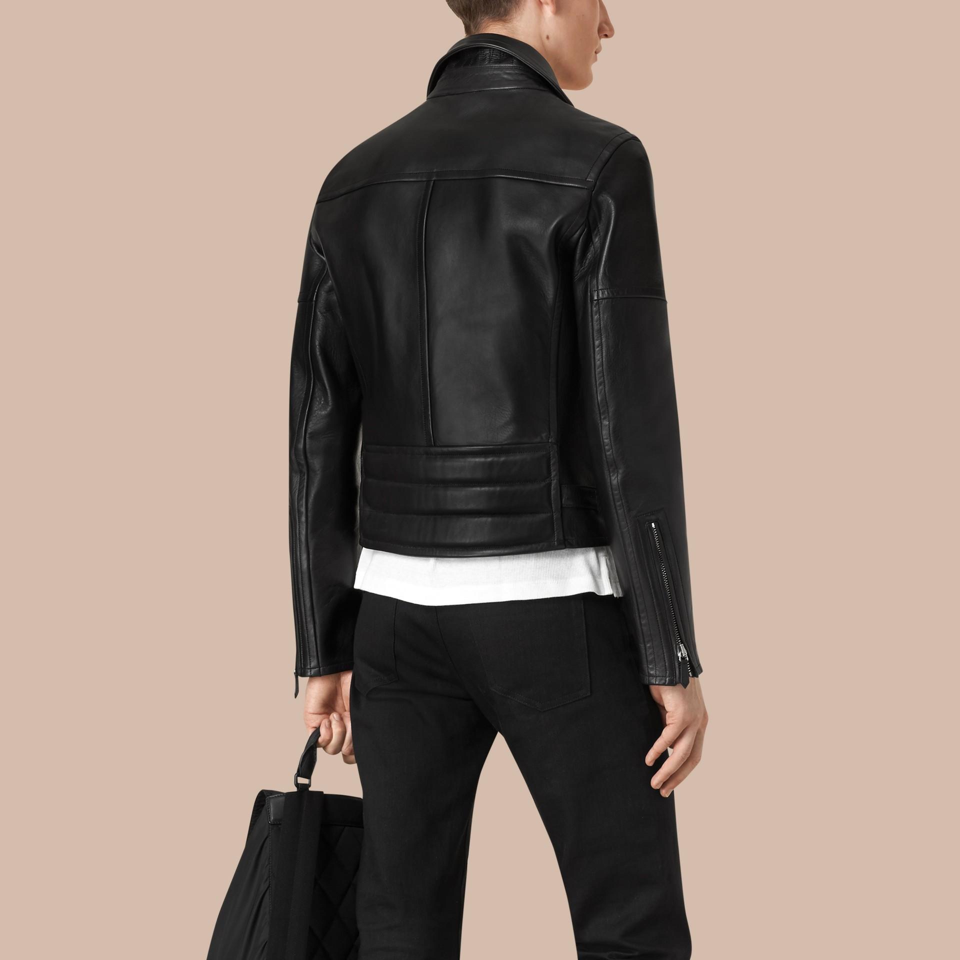 가죽 바이커 재킷 (블랙) - 남성 | Burberry - 갤러리 이미지 3
