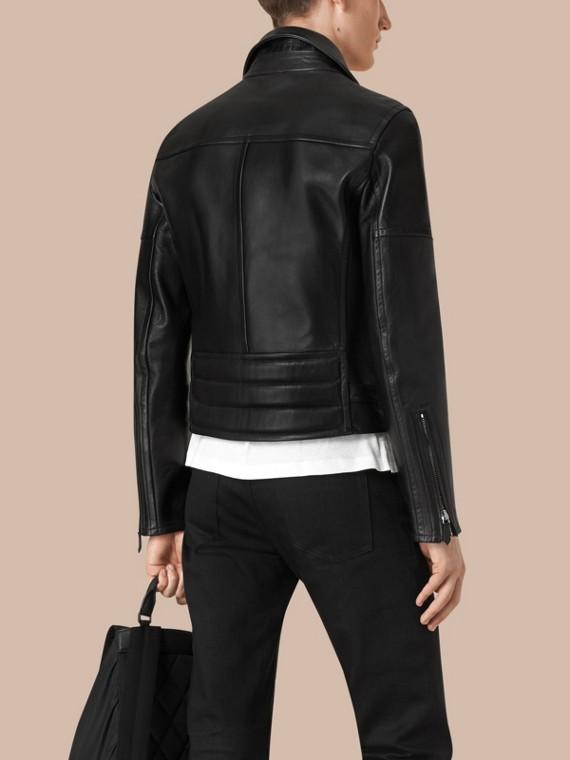 가죽 바이커 재킷 (블랙) - 남성 | Burberry - cell image 2