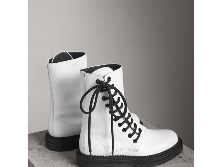 Leather Asymmetric Lace-up Boots in Optic White - Women | Burberry United Kingdom - cell image 4
